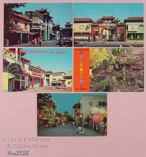 Vintage Souvenir Postcards Lot of Five Chinatown Los Angeles