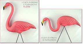 TWO PLASTIC PINK FLAMINGOS (IN ORIGINAL BOX)