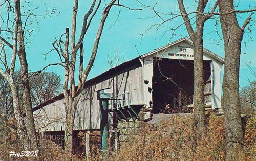 Covered Bridge Postcard Mansfield Bridge Parke Co Indiana