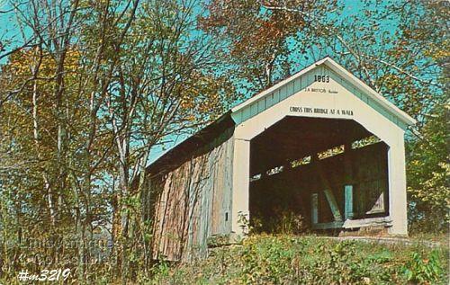 Covered Bridge Postcard Sim Smith Bridge Parke Co Indiana