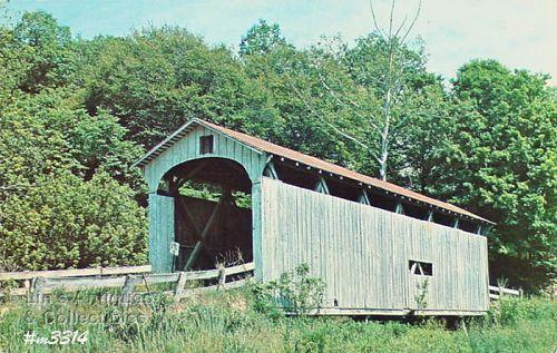 Covered Bridge Postcard Root Bridge Ohio