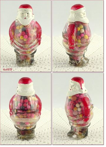 VINTAGE 1947 SANTA CLAUS CANDY CONTAINER WITH PLASTIC HEAD