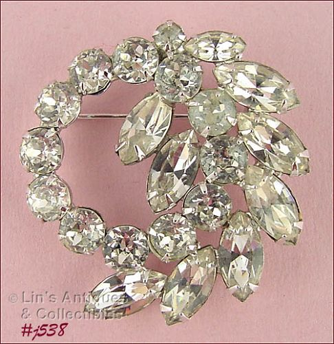 Vintage Signed Weiss Clear Rhinestone Pin
