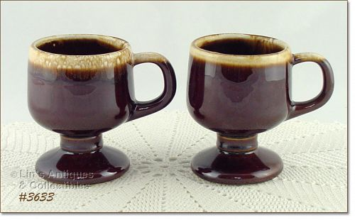 McCOY POTTERY SET OF TWO BROWN DRIP PEDESTAL CUPS