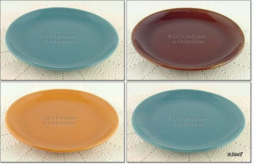 McCOY POTTERY SUBURBIA WARE DINNER PLATES SET OF 4