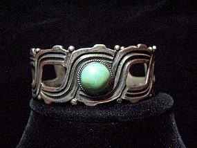 Rafael Melendez Turquoise Vintage Mexican Silver Cuff