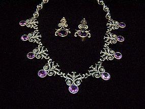 Superb Vintage Mexican Silver Purple Stone Necklace