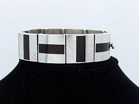 Antonio Pineda Onyx Vintage Mexican Silver Bracelet