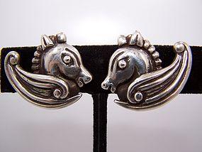 Los Castillo Vintage Mexican Silver Earrings  # 239