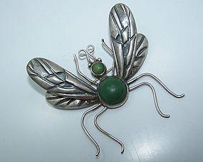 Los Castillo Vintage Mexican Silver Fly Book Piece Pin