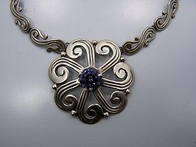 Beto Vintage Mexican Silver Necklace With Stone