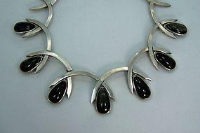 Antonio Pineda Obsidian  Mexican Silver Necklace