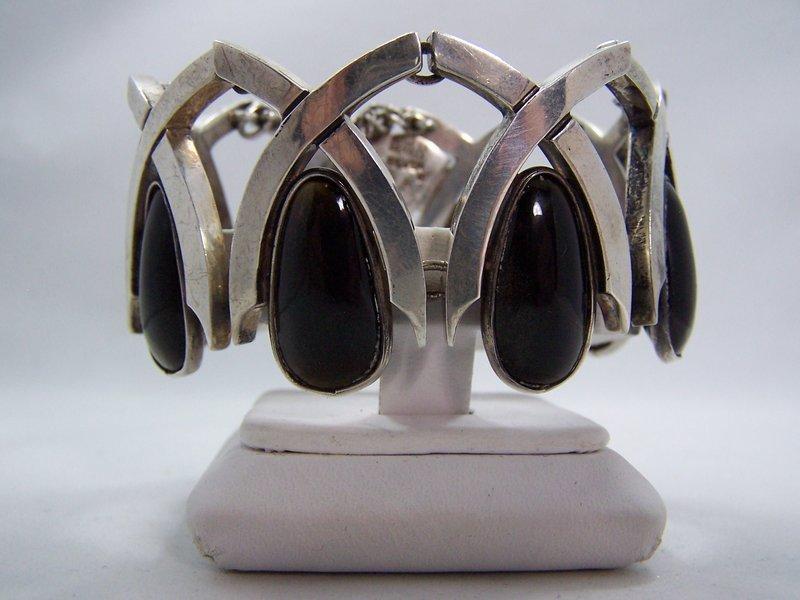 Antonio Pineda Vintage Mexican Silver Bracelet Obsidian