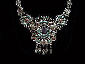Matl Design Mexican Silver Repousse Necklace