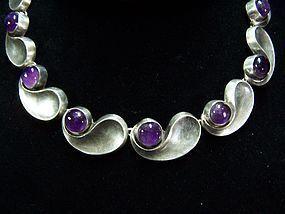 Antonio Pineda Amethyst Mexican Silver Comma Necklace