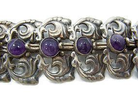 Outstanding Amethyst Mexican Silver Vintage Bracelet