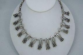 Vintage Mexican Silver Tulip Necklace