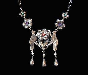 Folkloric Birds Vintage Mexican Silver Necklace