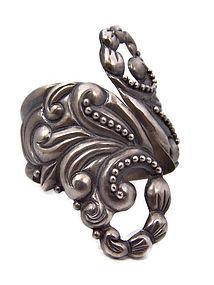 E.S. Mexican Silver Repousse Clamper Bracelet