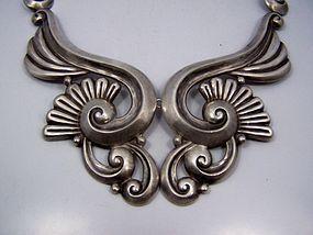Gerardo Lopez Vintage Mexican Silver Lotus Necklace
