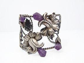 Amethyst Vintage Mexican Silver Floral Cuff / Bracelet
