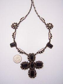Rafael Melendez Vintage Mexican Silver Cross Onyx Necklace