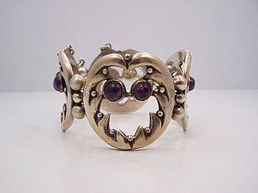 Silver Mexico Vintage Amethyst Bracelet