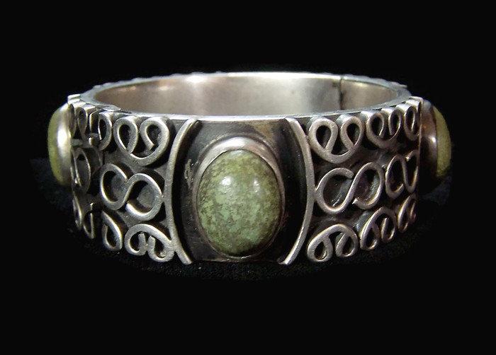 Ballesteros Vintage Mexican Silver Exceptional Stones Bracelet