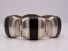 Ledesma Vintage Mexican Silver Obsidian Bracelet