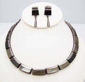 Enrique Ledesma Vintage Mexican Silver Obsidian Necklace & Earring