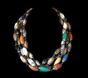 Vintage Mexican Silver Necklaces Colorful Gemstones