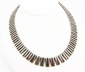 Ledesma Vintage Mexican Silver Bars Necklace And Stone