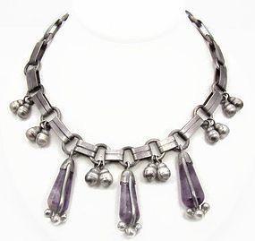Spratling Amethyst Casa Belles Vintage Mexican Silver Necklace