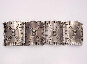 Vintage Mexican Silver Huge Chased Bracelet