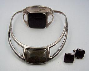 Sigi Pineda Obsidian Vintage Mexican Silver Parure Necklace Set