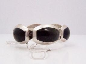 Enrique Ledesma Vintage Mexican Silver Onyx  Bracelet