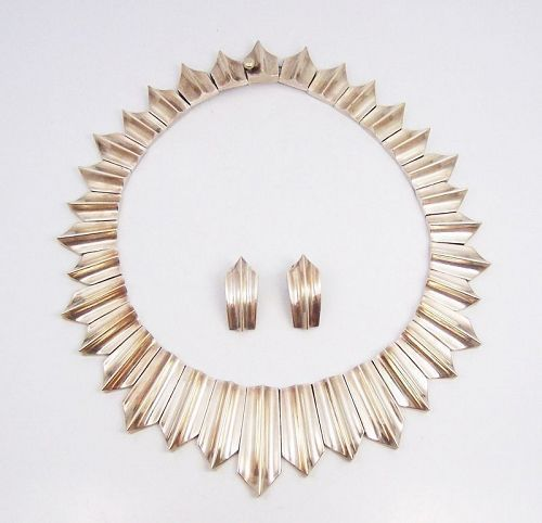 Antonio Pineda Iconic Modernist Vintage Silver Necklace and Earrings