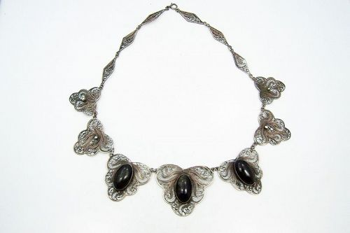 Vintage Mexican Silver Obsidian Filagree Necklace