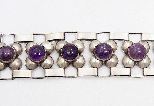 Amethyst Fred Davis Design Vintage Mexican Silver Bracelet