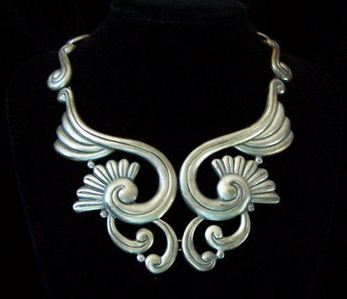 Lotus Vintage Mexican Silver Necklace Fantastic