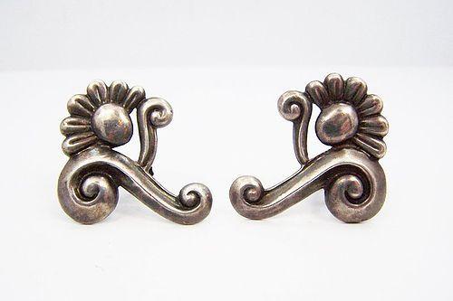 Gerardo Lopez Vintage Mexican Silver Lotus Earrings