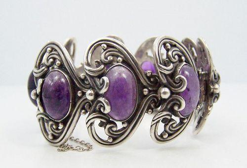 Margot de Taxco Amethyst Hearts Vintage Mexican Silver Bracelet  5213
