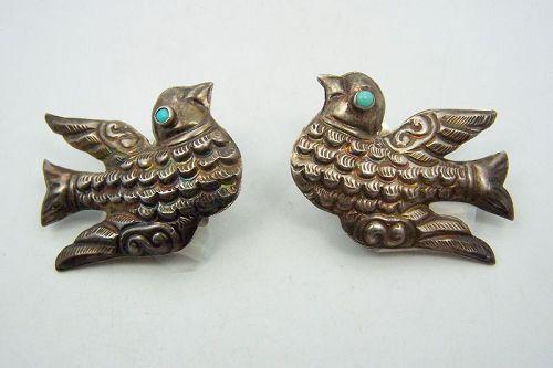 Matl Salas Matilde Poulat Mexican Silver Bird Earrings