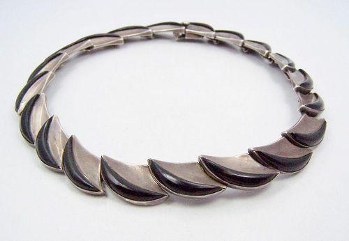 Antonio Pineda Vintage Mexican Silver Onyx Crescent Necklace