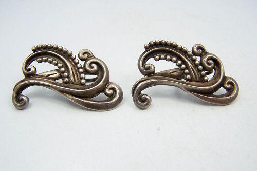 Margot de Taxco Margot Van Voorhies  Mexican Silver Earrings