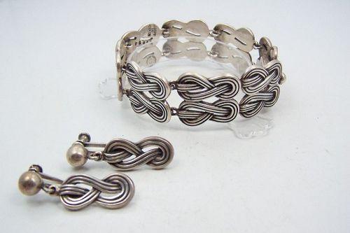 Margot de Taxco  Mexican Silver # 5625 -A  Ears Bracelet Set Vintage