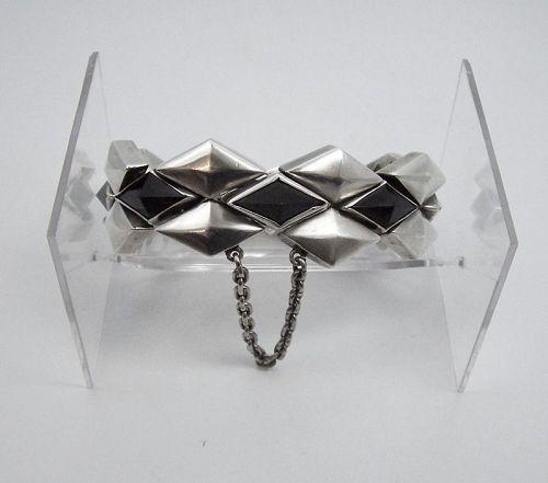Antonio Pineda Diamond Stones Vintage Mexican Silver Bracelet