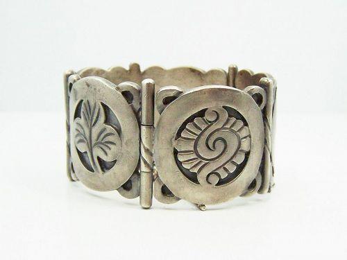 Hector Aguilar Vintage Mexican Silver Symbols Bracelet