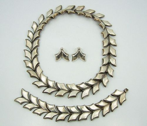 Taxco 980 Mexican Silver Leaf Necklace Set