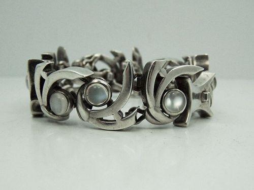 Antonio Pineda Modernist Moon Stone Mexican Silver Bracelet Heavy
